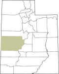 Map of Utah with Millard County Highlighted
